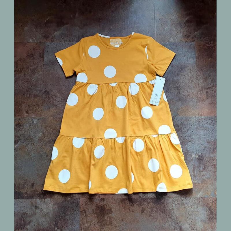 Fundf Maedchen Kleid Punkte Tupfen Kurzarm Gelb